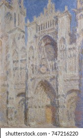 Rouen Cathedral: The Portal , by Claude Monet, 1894, French impressionist oil painting. Monet painted more than thirty views of Rouen Cathedral in 1892_93, which he began in Rouen and finished in his