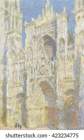 Rouen Cathedral, West Facade, Sunlight, by Claude Monet, 1894, French impressionist painting, oil on canvas. Monet rented rooms across from Rouen cathedral to paint his series of the Gothic cathedral