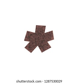 Rough aged brown metal asterisk or star shape symbol in a 3D illustration with an old rusted eroded texture and basic bold font isolated on a white background with clipping path
