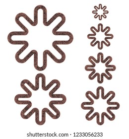 Rough aged brown metal set of asterisk or starburst shape design elements 3D illustration with an old rusted eroded texture isolated on a white background with clipping path