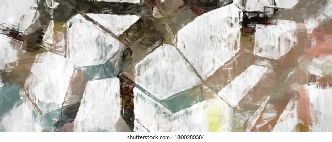 Reiche Pinselstriche auf abstraktem Hintergrund. Pinselstrich. Farbstriche von Farben. Einzigartige Wandkunst. Moderne Kunst auf Leinwand. Farbige zeitgenössische Kunstwerke.