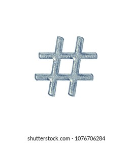 Rough cracked blue stone or ice style hashtag social media icon or pound sign symbol in a 3D illustration with a rocky texture classic font isolated on a white background with clipping path.