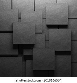 Rough material grey background. Square blocks. Top view. 3d render.