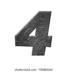 Rough metallic number four 4 in a 3D illustration with a rocky texture and shiny dark gray metal surface with a basic bold font isolated on a white background with clipping path.