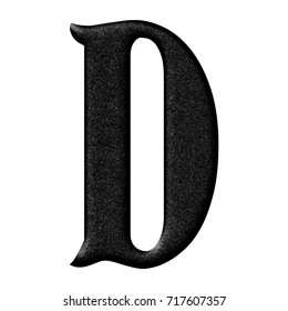 Rough plastic or rubber textured uppercase or capital letter D in a 3D illustration with a rough mottled surface texture and ancient antique font isolated on a white background with clipping path.