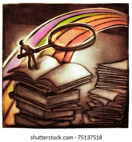 rough structured illustration of a man looking at the rainbow through magnifier