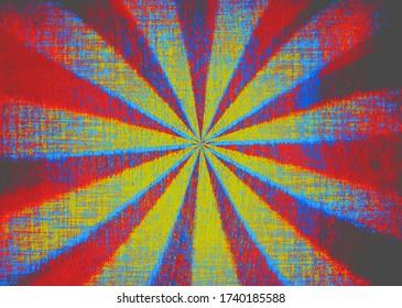 Rough textured red and yellow grunge starburst