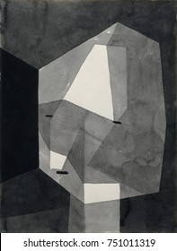 ROUGH-CUT HEAD, by Paul Klee, 1935, Swiss drawing, ink wash, and graphite on paper. Simple schematic head of red lines painted over crudely painted shapes of yellow ochre and white. Klees health was d