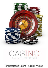 Roulette with Chips, Casino concept, 3d Illustration of Casino Games Elements isolated white