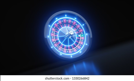 Roulette Wheel Concept Design. Online Casino Gambling Roulette 3D Realistic With Neon Lights - 3D Illustration