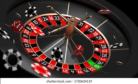 Roulette wheel with flying casino chips and dice. 3D illustration