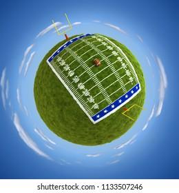 Round american football field on the globe - 3D illustration