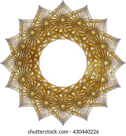 Round arabesque geometrical tessellation ornamental frame or Ayyubid star, oriental arabic style, with copy space for text. Greeting card holiday background element.