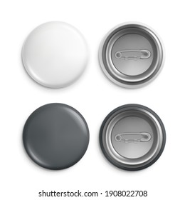 Round badges. White plastic badge mockup, isolated buttons witn pins. Realistic round magnet with metallic blank back side set