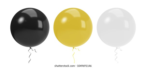 Round Balloons with brilliant colorful and string ribbon. Realistic air balloon 3d render illustration with Clipping path ready to use for your unique decoration design in several occasion