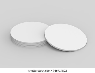 Round Blank Coaster Mock Up Template On Isolated White Background, 3d Illustration