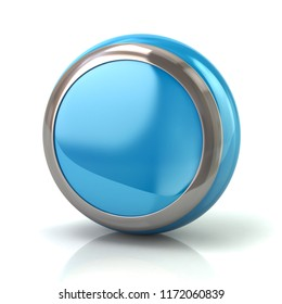 Round blue button with metal borde 3d illustration on white background