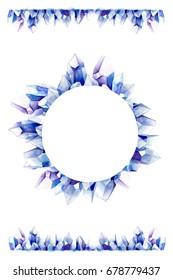Round blue clear quartz crystal cluster family wreath in circle shape on white background