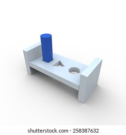 Round blue peg forced into a square hole in a white wooden block on a white background