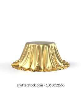 Round box covered with golden fabric isolated on white background. 3D realistic illustration