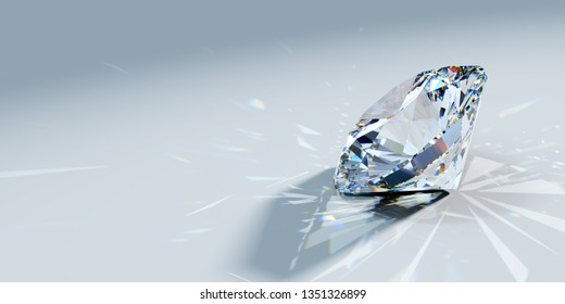 Round brilliant cut diamond with beautiful caustics rays on light blue background, side view. 3D illustration