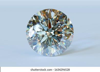 Round brilliant cut diamond on light blue background. 3D illustration