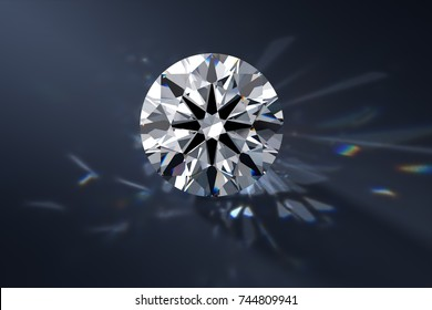 Round brilliant cut diamond with a visible ideal hearts and arrows pattern,  rear light shadow, caustics rays. Close-up view on dark blue background. 3D rendering illustration