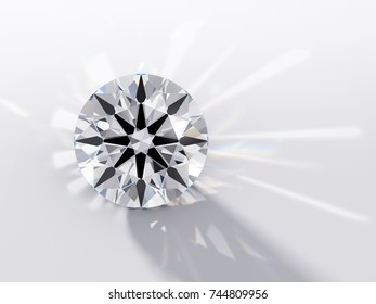 Round brilliant cut diamond with a visible ideal hearts and arrows pattern,  rear light shadow, caustics rays. Close-up view on white background. 3D rendering illustration