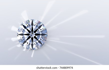 Round brilliant cut diamond with a visible ideal hearts and arrows pattern,  caustics rays. Close-up view on light blue background. 3D rendering illustration
