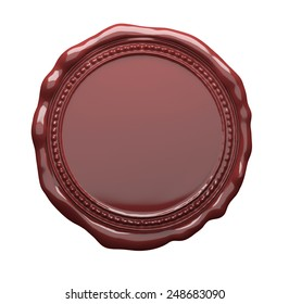 Round Brown sealing wax stamp, clipping path included.