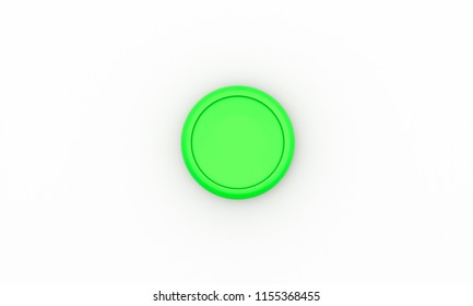 Round button green on white background 3d illustration