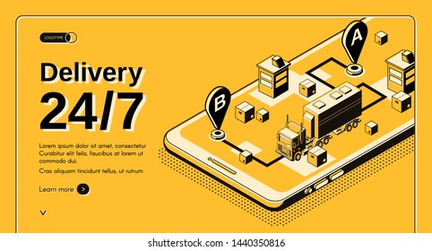 Round the clock cargo delivery company, shipping service isometric web banner, landing page template. Truck with freight container moving on route from point A to point B line art illustration