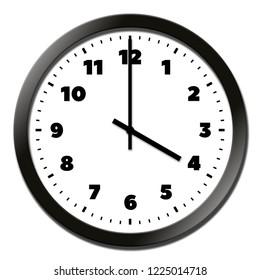 Round clock face showing four o'clock isolated on white background
