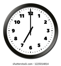 Round clock face showing seven o'clock isolated on white background