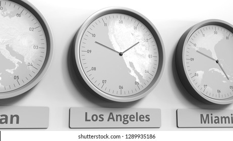 Round clock showing Los Angeles, USA time within world time zones. Conceptual 3D rendering