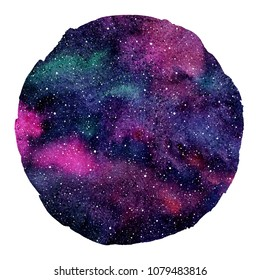 Round colorful cosmic, cosmos, space watercolor background isolated on white. Watercolour galaxy, universe, night sky with stars. Circle shape with artistic uneven edge. Aquarelle stains texture.