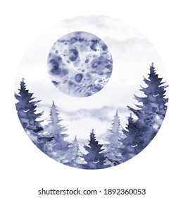Round composition. Landscape with moon and fir trees. Hand drawn watercolor monochrome sketch illustration