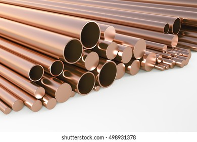 Round copper billets of different diameters on a white background. 3d illustration