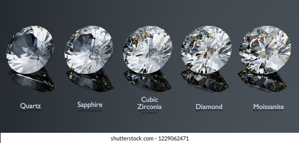 Round cut diamond substitutes comparison. Quartz, sapphire, cubic zirconia, moissanite. with titles on gray glossy background. 3D illustration
