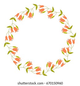 Round decorative frame with abstract orange flowers. Raster clip art.