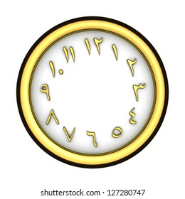 Round dial with golden arabic-indic numerals
