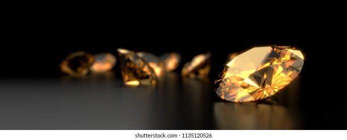 Round diamond topaz Gem reflected placed on dark reflection background. 3d