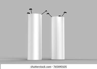 Round Expand Tower  three panels Graphic panels Pop Up Display or totem banner stand. 3d render illustration.