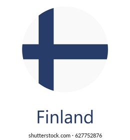 Round finland flag raster icon isolated, finland flag button