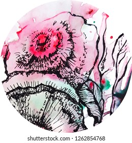 Round floral design, watercolor and graphic
