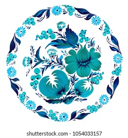 Round floral pattern. Traditional Ukrainian painting petrikovka (petrykivka).  Beautiful turquoise and blue flowers, leaves and berries on white background. Gouache paint. Hand painted illustration.