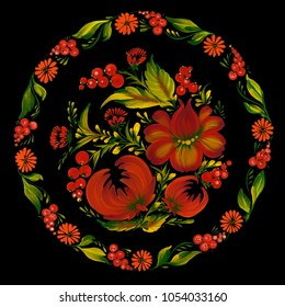 Round floral pattern. Traditional Ukrainian painting petrikovka (petrykivka).  Beautiful red flowers, green leaves and berries on black background. Gouache paint. Hand painted illustration.