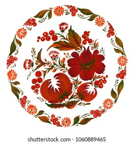 Round floral pattern. Traditional Ukrainian painting petrikovka (petrykivka).  Beautiful red and green flowers, leaves and berries on white background. Gouache paint. Hand painted illustration.
