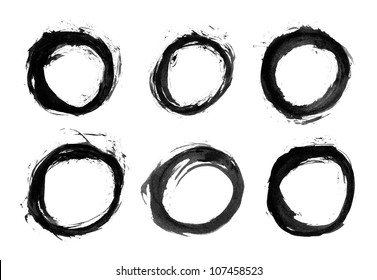 Round form black brush stroke. Drawing created in ink sketch handmade technique. Isolated shapes on white background.