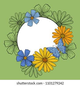Round frame banner background with flowers and butterfly, wedding, spring or birthday card